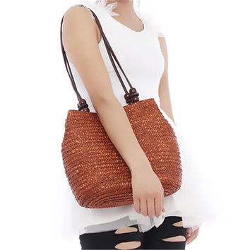 Women Retro Wooden Beads Beach Shoulder Bag trend Straw Woven Bags Tote Handbag