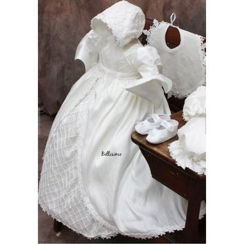 Christening gown with bonnet-Baptism gown- special occasion Amarilys