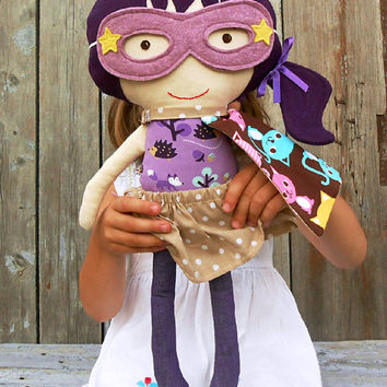 CLOTH DOLL, fabric doll, superhero girl doll, rag dolls, large doll, 50cm/19inch doll, kids toy, handmade doll, sensory toy, dress up dolls