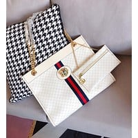 GUCCI High Quality Women Fashion Leather Tote Handbag Shoulder Bag Purse Wallet Set Two-Piece White