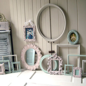 Mint, Pink and Cottage White Open Frame Set, Large Oval Frame, Oval Syroco Lace Mirror, Mint and Baby Pink Nursery Frames, Ornate Frame Set