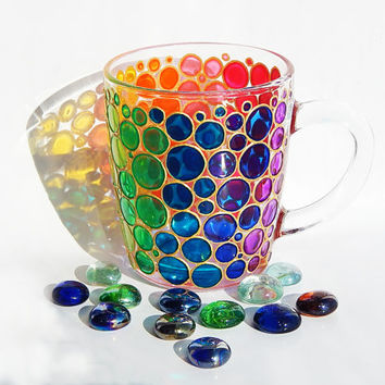 Stained glass Bubbles Mug Cup colorful mug Mosaic Cup Coloured Bubbles Mug bubbles mug bright mug multi colored mug handmade glasses