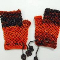 Orange crochet fingerless gloves valentine gift Wrist warmer fingerless mittens handknit gloves winter accessories winter gloves woman glove