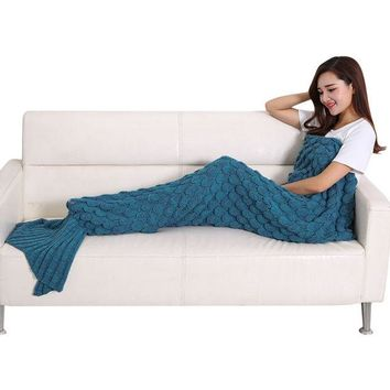 ONETOW Soft Comfort Handmade Knitted Mermaid Tail Blanket Cute Warm Sofa Air Conditioner 190 x 90cm Cotton Blankets For Children Adults