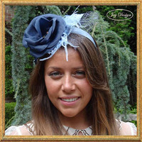 One of a Kind Woman's Fascinator Headband in Periwinkle Blue and Slate Gray with Flower, Feathers and Delicate Netting