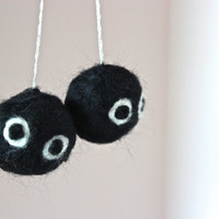 Needle-Felted Soot Sprites Car Dangle Dash Dangle Rear View Mirror Dangle Spirited Away Hayao Miyazaki Chihiro Haku