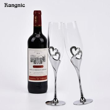 Silver Heart Shaped Wine Glasses