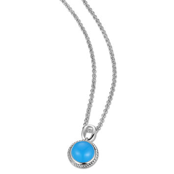 18 in. + 2 in. Round Blue Chalcedony Necklace