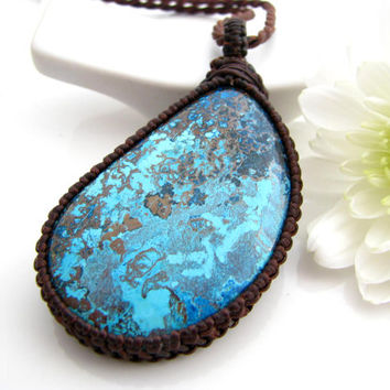 Azurite  Necklace / Macrame / Azurite  / Jewelry  Funky / Yoga jewelry  / Healing  / Unique Gemstones / blue / Boheme / Gift