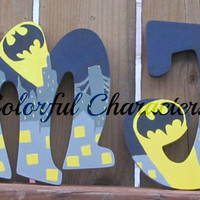 Comic book inspired Batman themed wooden letter, batman, painted wall letters