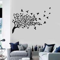 Wall Stickers Vinyl Decal Flock of Birds Tree Nature Excellent Decor Unique Gift (ig652)