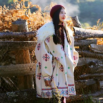 Makuluya Women Wool Vintage Coats Female Loose Long Thickening Printing Cotton-padded Clothes Fur Collar Jackets Folk Style QW