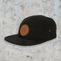 AM Five Panel Hat in Black Suede