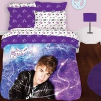 Justin Bieber Concert Full Comforter Pillow Sham Set Set - 3pc Purple Bedding Full-Double Size