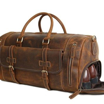 BLUESEBE HANDMADE LEATHER VINTAGE BROWN DUFFLE BAG WITH SHOES COMPARTMENT LJ1188