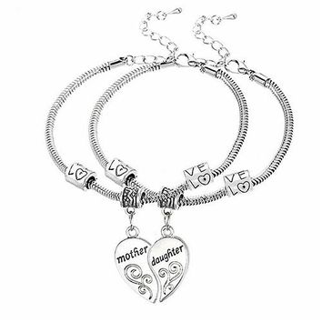 Mother Daughter Love Heart Bracelets
