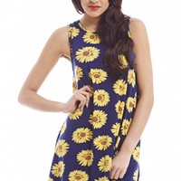 Navy Big Daisy Swing Dress