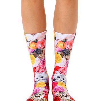 Kitty Garden Crew Socks