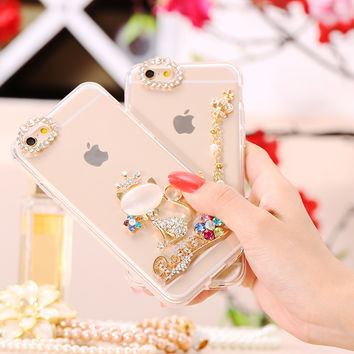 Cute Bling Girl Cat Case For iPhone 6 6s 4.7/ Plus 5.5 Mushroom Swan Diamond Thin Fashion Soft Clear Back Cover For iPhone6