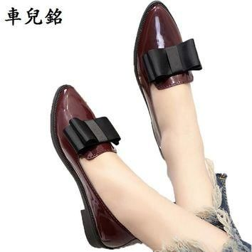 spring autumn Flat oxford shoes for women PU Leather loafers lace up butterfly knot la