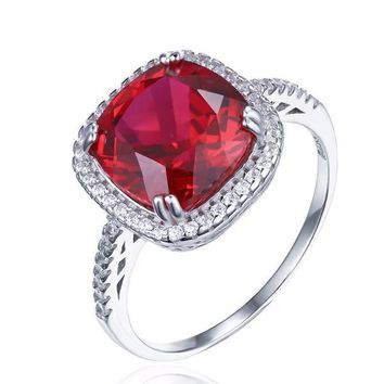 Passion Rubellite Cushion Cut 6.5CTW IOBI Precious Gems Halo Ring