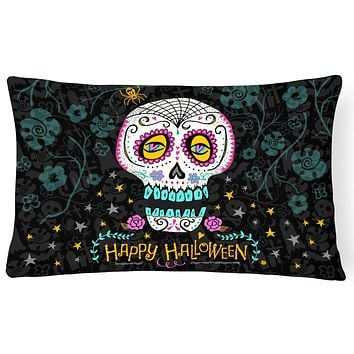 Happy Halloween Day of the Dead Canvas Fabric Decorative Pillow VHA3035PW1216