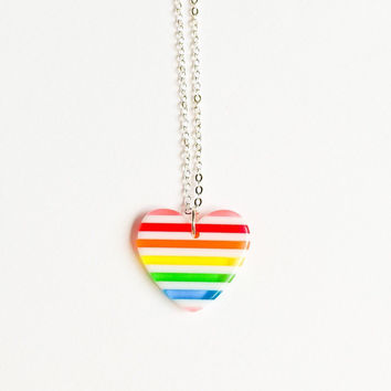 Rainbow Heart resin kawaii necklace Silver Plated chain children Jewelry accessories handmade by Love Factory ny