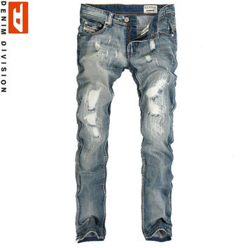 Men's Light Washed Ripped Grey Jeans