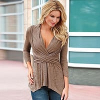 Brown V-Neck Wrap Around Long Sleeve Ruched Blouse