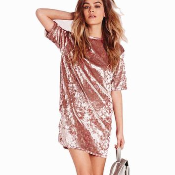 Short Sleeve Crushed Velvet Dress