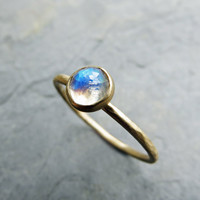14k Gold Moonstone Ring - Rose Cut Clear Rainbow Moonstone in Hammered, Matte, Solid 14k Gold - Moonstone Engagement Ring or Stacking RIng