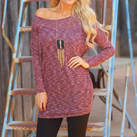 Where I Want To Be Dolman Tunic - Wine