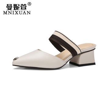 New mules shoes women 2017 summer fashion casual genuine leather ladies pumps pointed toe thick heel 5cm high heels big size9 41