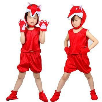 Free shipping ,halloween party cosplay kid Children cartoon animal red fox costume top