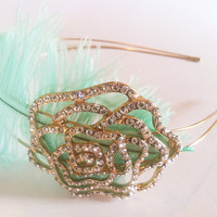 Flapper Era Crystal Rose Mint Feather