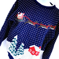 Tacky Christmas Sweater Santa with Reindeer with Sleigh Baxter & Wells