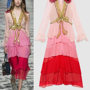 High Quality Women Runway Luxury Brand Pink Red Chiffon Sequin Embellished Ruffled Embroidered Bow knot Chiffon Long Dress  S29