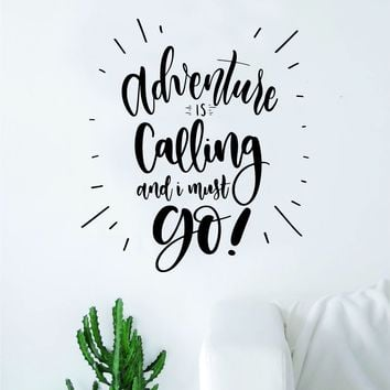 Adventure is Calling V3 Quote Wall Decal Sticker Decor Vinyl Art Bedroom Teen Inspirational Boy Girl Travel Wanderlust