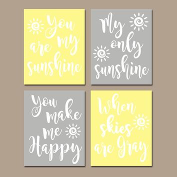 YELLOW GRAY You Are My Sunshine Wall Art, CANVAS or Prints Baby, Girl Nursery Song Rhyme Quote Decor, Set of 4 Decor, Gift for Girl Pictures