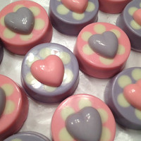 Chocolate Covered Double Stuffed Oreos with Heart and Polka Dots (1 Dozen) -Baby Shower, Belle, Wedding, Bridal Shower, Doc McStuffins