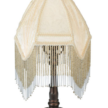 "Meyda 13""""H Arabesque Fabric With Fringe Accent Lamp"