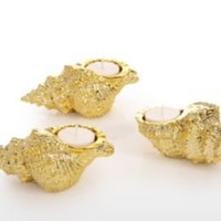 One Kings Lane - Hacienda - Set of 3 Conch Shell Tea Lights, Gold