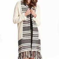 Beige Geometric Print Long-Sleeve Fringed Knitted Coat
