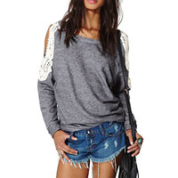 Gray Cut-out Shoulder Crochet Long Sleeve Top