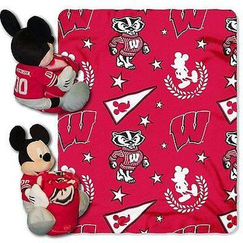 Wisconsin Badgers NCAA Mickey Mouse Throw and Hugger Pillow Set