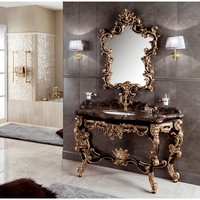 "GM Luxury Gondola 61.4"" Bathroom Vanity Console Cabinet Decorated Wood Gold Leaf"