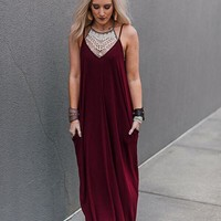 Perfection Pocket Maxi Dress - Burgundy