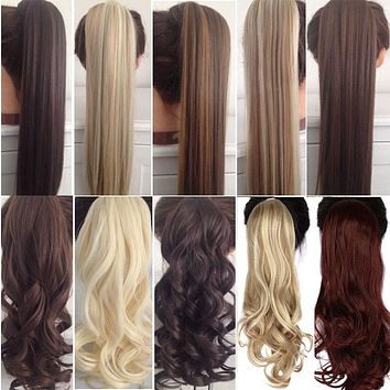 """HAIR EXTENSIONS 23"""" Long Curly Clip In with pins Synthetic Hair Pony Tail"""