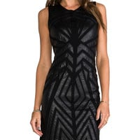 Greylin Ollie Faux Leather Cut Out Dress in Black
