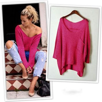 Women's Rose-Carmine Plain Off Shoulder V-neck Irregular Pullover Knitted Baggy Sweater Jumper